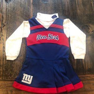 NY Giants football toddler cheerleader uniform